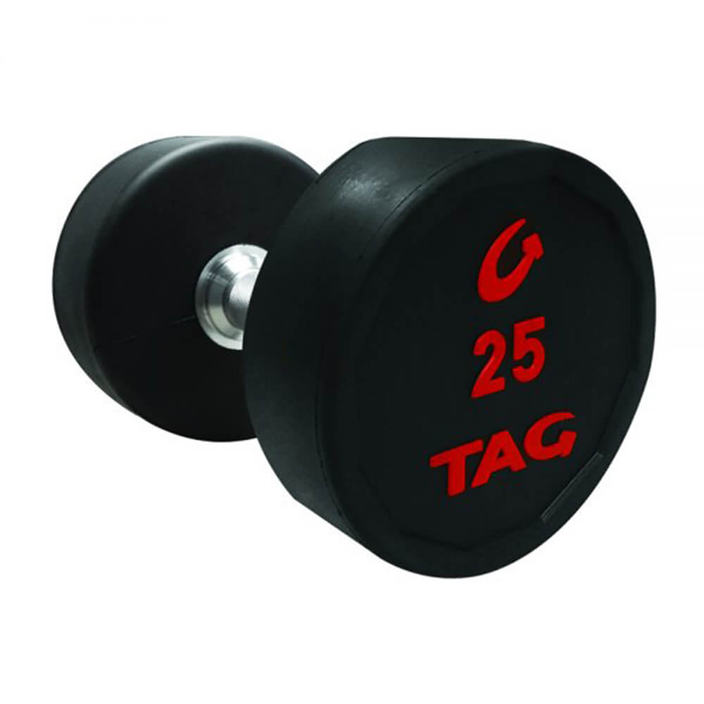 TAG 5-50lb Rubber Dumbbell Set 3D View