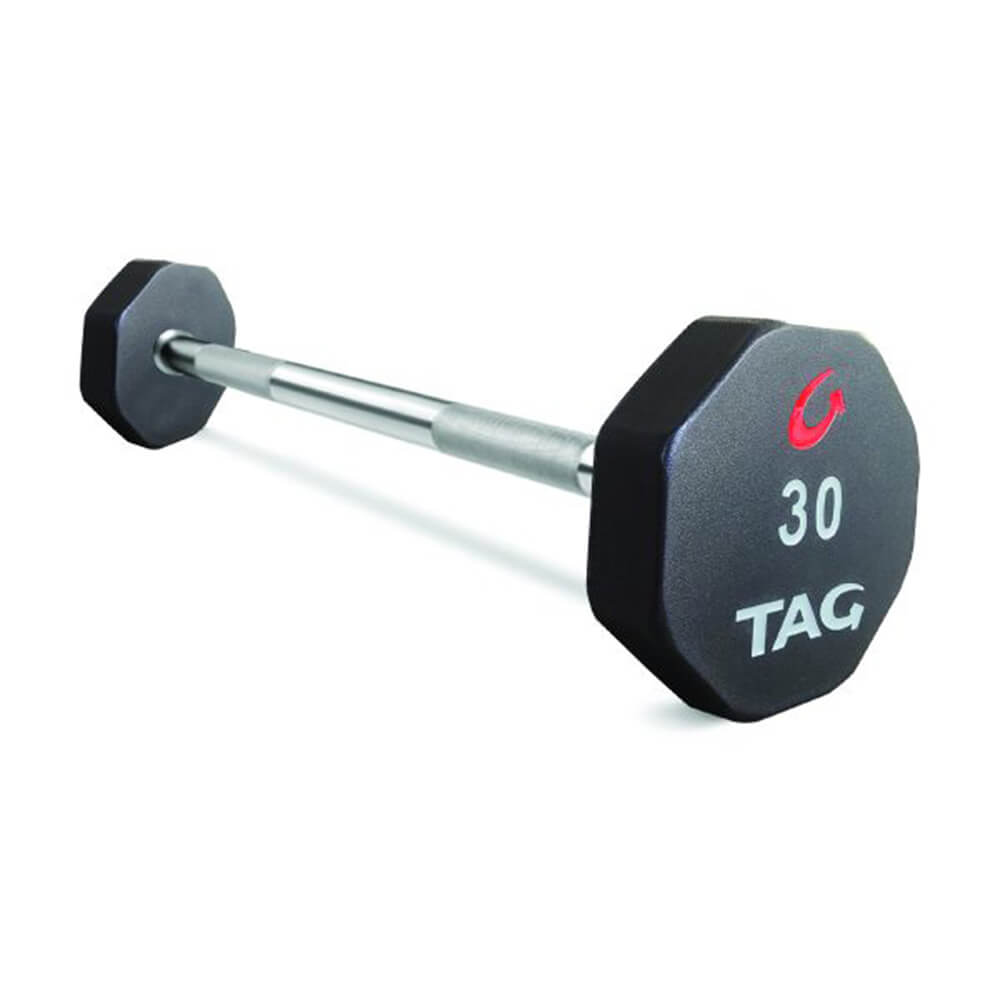 TAG Fitness Straight Fixed Barbell - 8 Sided - Premium Ultrathane Encased 3D View