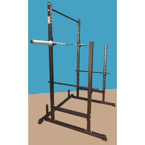 Image of TDS H-92550B Power, Squat & Open Rack Station (Black) 3D View With Bar
