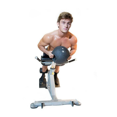 The Abs Company Lumbar X Front View With Medicine Ball