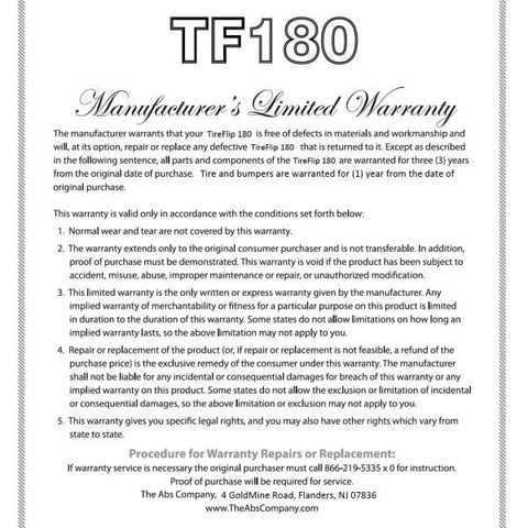 Image of TireFlip 180 Warranty - The Abs Company