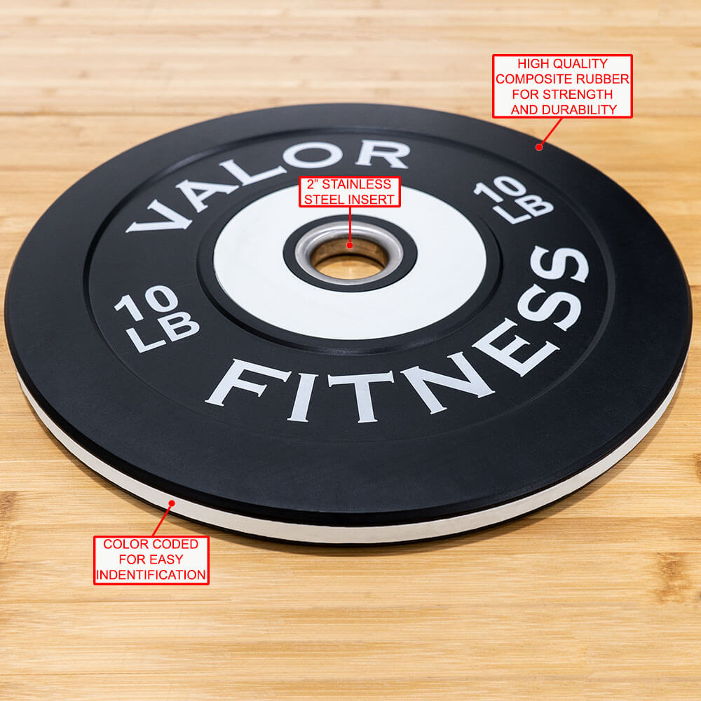 Valor Fitness Bumper Plate Pro BPP 10 lbs Features