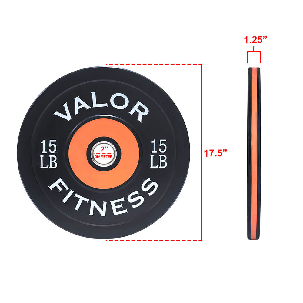 Valor Fitness Bumper Plate Pro BPP 15 lbs Dimension