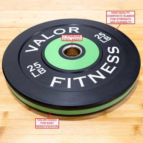 Image of Valor Fitness Bumper Plate Pro BPP 25 lbs Features