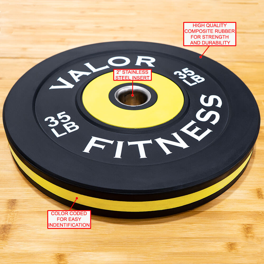 Valor Fitness Bumper Plate Pro BPP 35 lbs Features