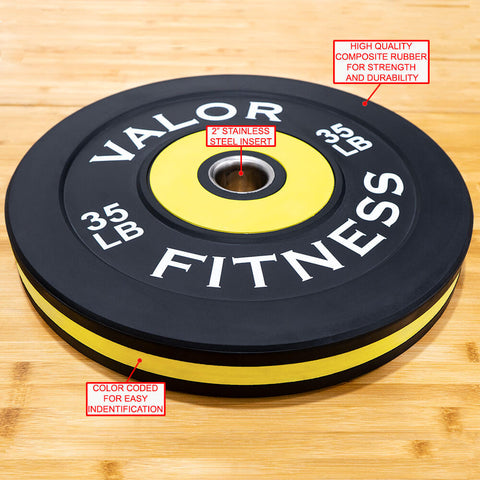 Image of Valor Fitness Bumper Plate Pro BPP 35 lbs Features