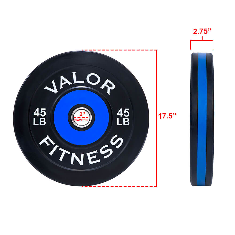 Valor Fitness Bumper Plate Pro BPP 45 lbs Dimension