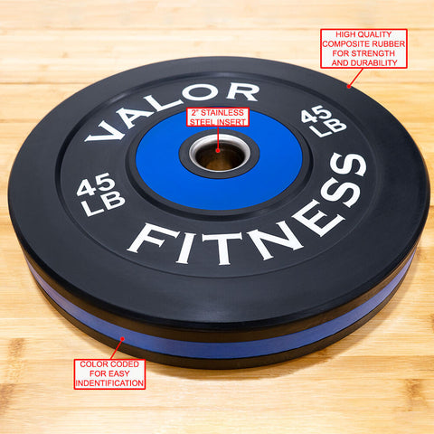 Image of Valor Fitness Bumper Plate Pro BPP 45 lbs Features
