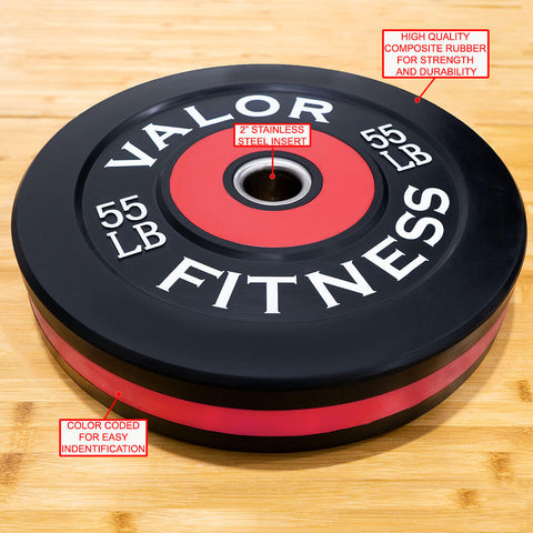 Image of Valor Fitness Bumper Plate Pro BPP 55 lbs Features