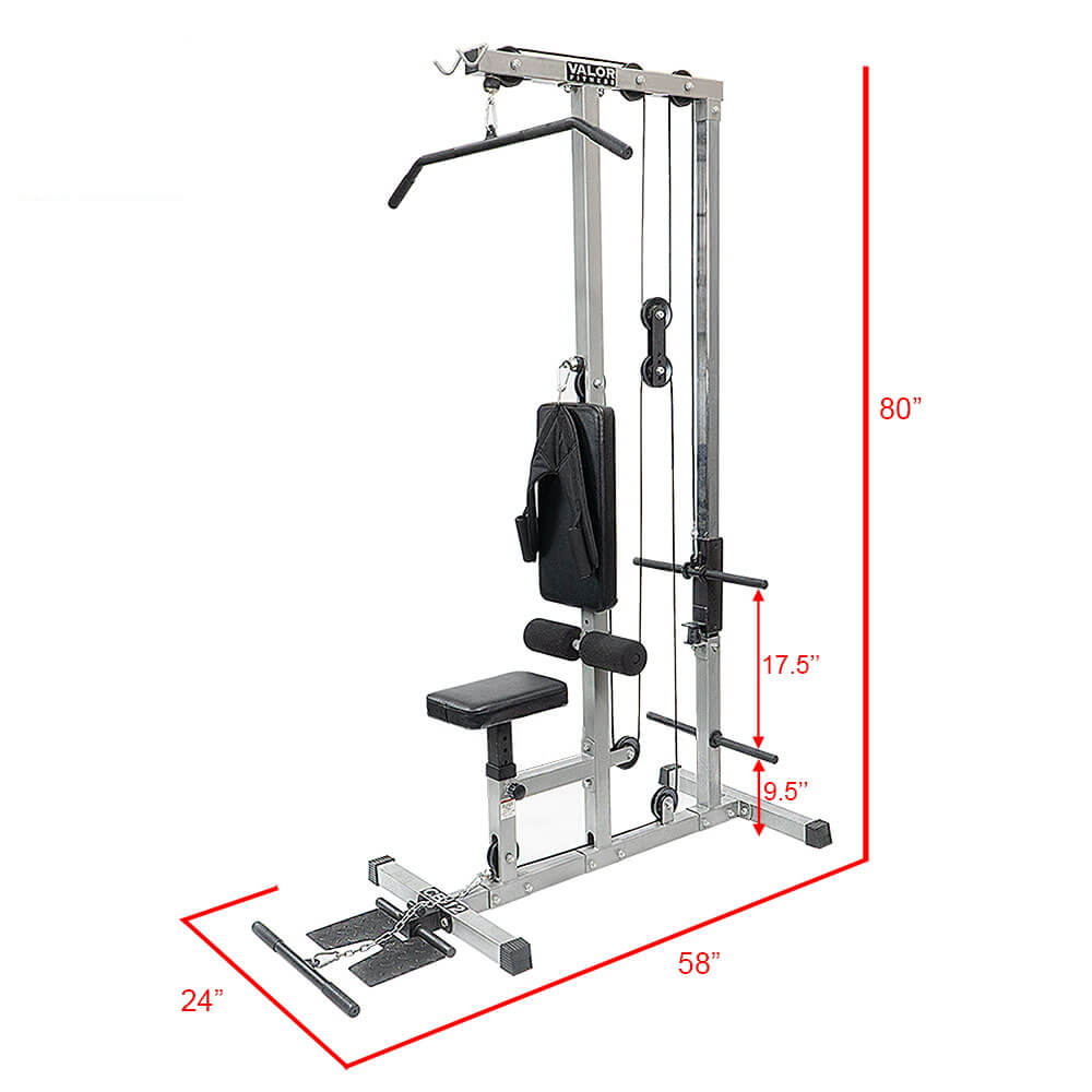 Valor Fitness Lat Pull DownPLGLow Row CB-12 Dimension