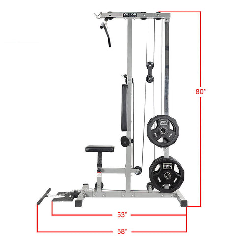Valor Fitness Lat Pull DownPLGLow Row CB-12 Side View Dimension