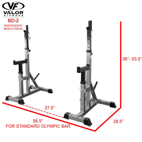 Image of Valor Fitness BD-2 Independent Bench Press Stands Dimension