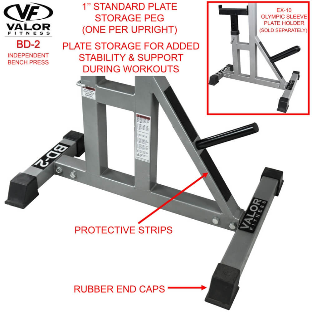 Valor Fitness BD-2 Independent Bench Press Stands Plate Storage