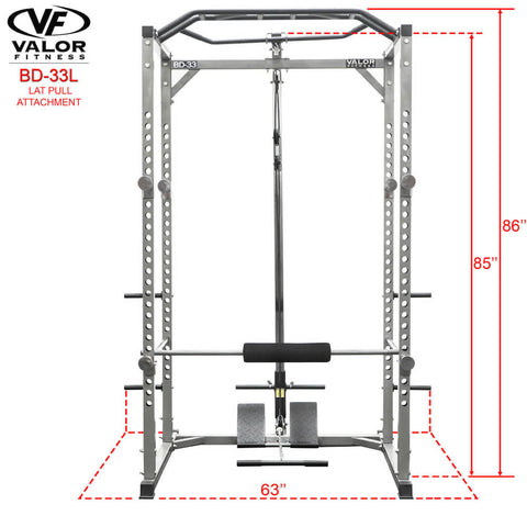 Image of Valor Fitness BD-33L Lat Pull for BD-33 Front View Dimension
