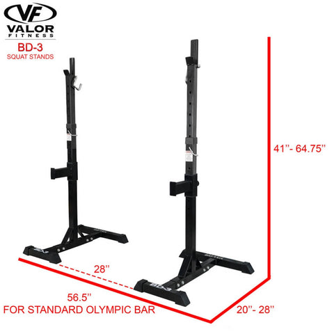 Valor Fitness BD-3 Squat Stands 3D View Dimensions