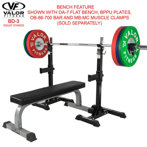 Valor Fitness BD-3 Squat Stands Bench Feature