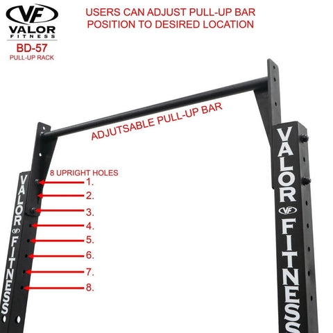 Image of Valor Fitness BD-57 Half Rack with Pull Up Bar Adjustable Pull Up Bar