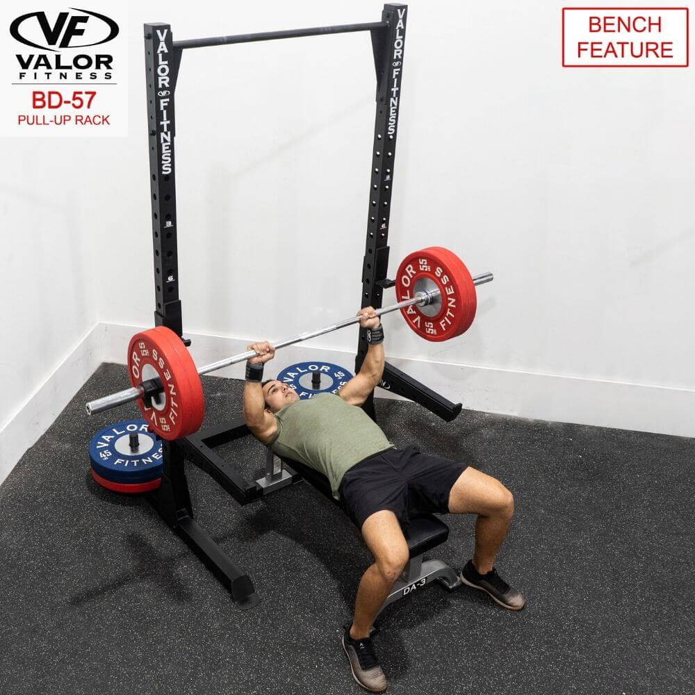 Valor Fitness BD-57 Half Rack with Pull Up Bar Bench Feature