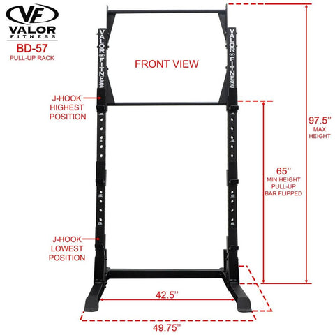 Image of Valor Fitness BD-57 Half Rack with Pull Up Bar Front View