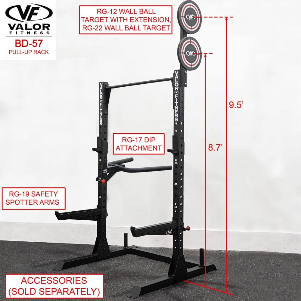 Valor Fitness BD-57 Half Rack with Pull Up Bar Wall Ball Dimension