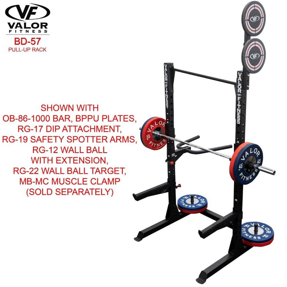 Valor Fitness BD-57 Half Rack with Pull Up Bar With BPPU Plates