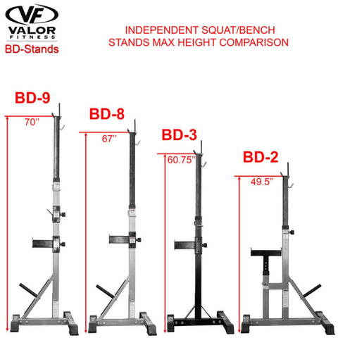 Valor Fitness BD-8 Improved Deluxe Squat Stands Comparison