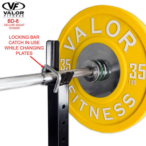 Valor Fitness BD-8 Improved Deluxe Squat Stands Locking Bar