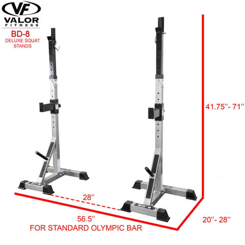 Valor Fitness BD-8 Improved Deluxe Squat Stands Standard Olympic Bar