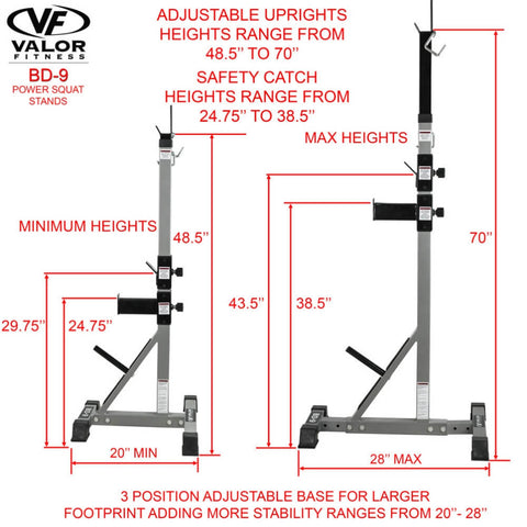 Valor Fitness BD-9 Power Squat Stands Dimensions