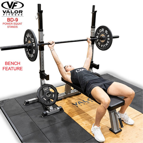 Valor Fitness BD-9 Power Squat Stands Front Side View