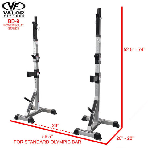 Valor Fitness BD-9 Power Squat Stands Standard Olympic Bar