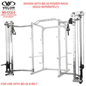 Valor Fitness BD-CC2.0 Cage Cable Crossover Attachment 2.0_ Frame With BD-33 Power Rack