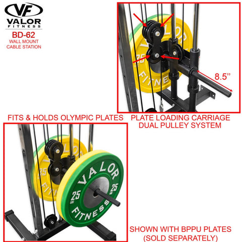 Valor Fitness BD62 Wall Mount Cable Station Olympic Plates