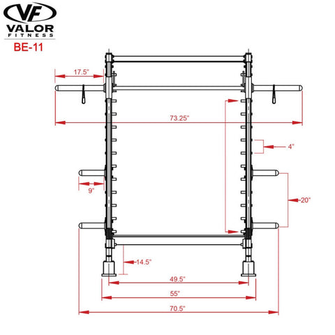 Valor Fitness BE-11 Smith Machine Dimensional Illustration