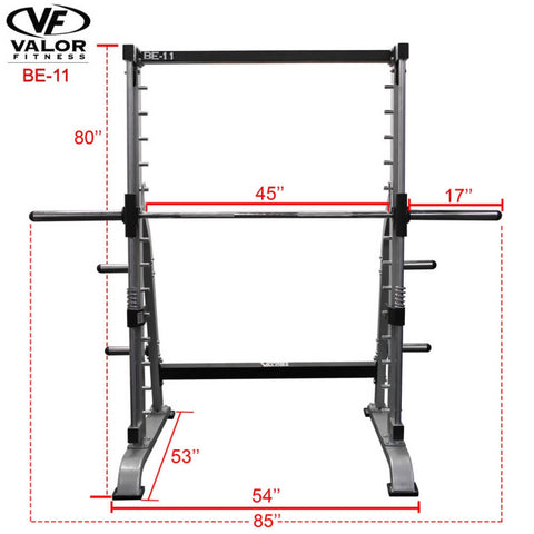Valor Fitness BE-11 Smith Machine Front View Dimensions