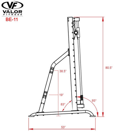 Valor Fitness BE-11 Smith Machine Side View Dimensions