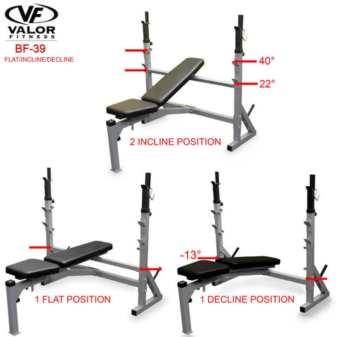 Image of Valor Fitness BF-39 FID Olympic Bench Different Position