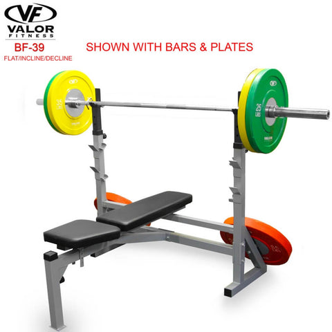 Image of Valor Fitness BF-39 FID Olympic Bench With Bars And Plates