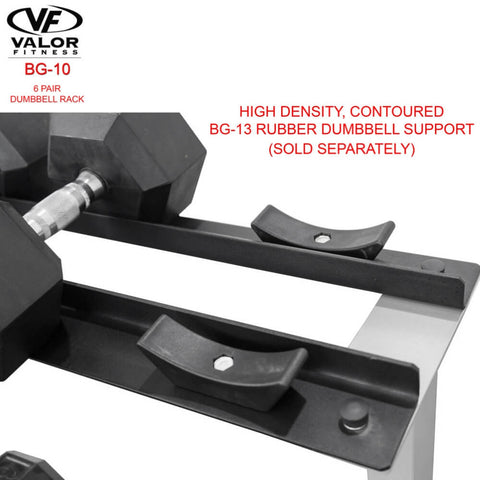 Image of Valor Fitness BG-10 6 Pair Dumbbell Rack Dumbbell Support Close Up