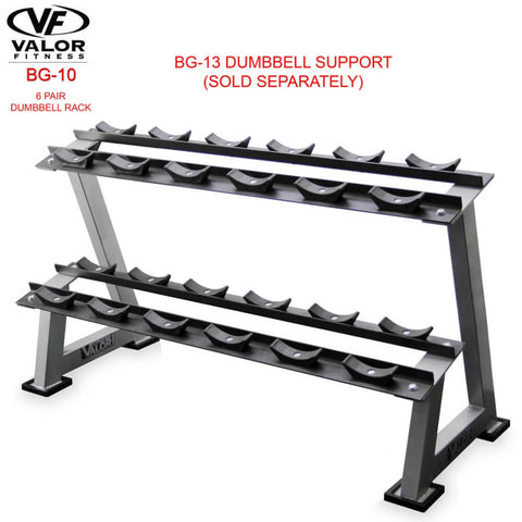 Valor Fitness BG-10 6 Pair Dumbbell Rack With Dumbbell Support