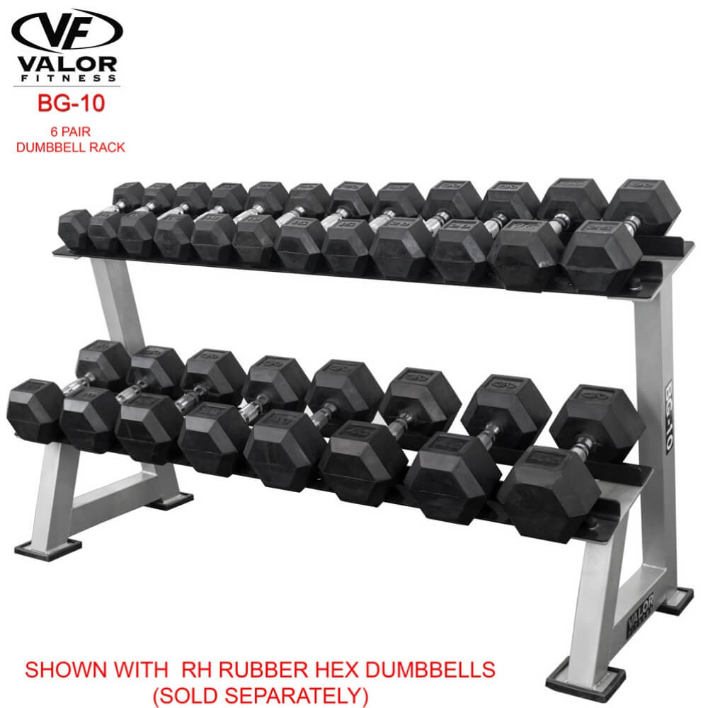 Valor Fitness BG-10 6 Pair Dumbbell Rack With Rubber Hex Dumbbells