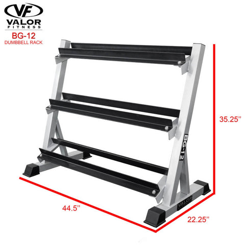 Image of Valor Fitness BG-12 3 Tier (40) Dumbbell Rack 3D View Dimensions