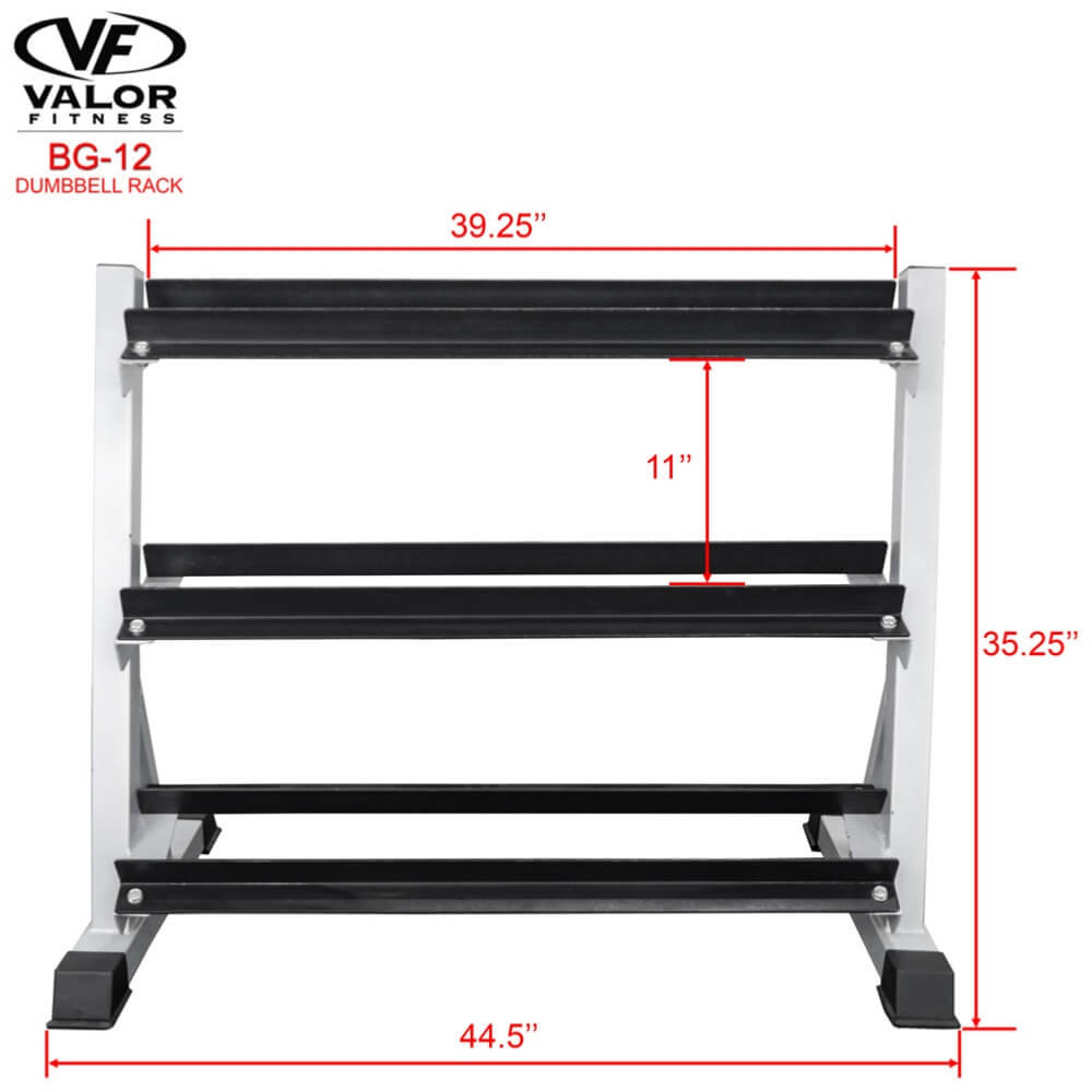 Valor Fitness BG-12 3 Tier (40) Dumbbell Rack Front View Dimensions