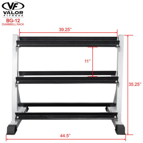 Image of Valor Fitness BG-12 3 Tier (40) Dumbbell Rack Front View Dimensions