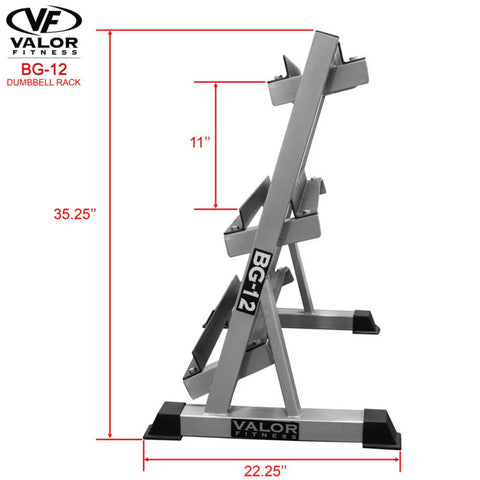 Image of Valor Fitness BG-12 3 Tier (40) Dumbbell Rack Side View Dimensions