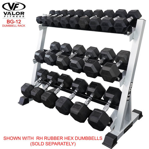 Image of Valor Fitness BG-12 3 Tier (40) Dumbbell Rack With Rubber Hex Dumbbell