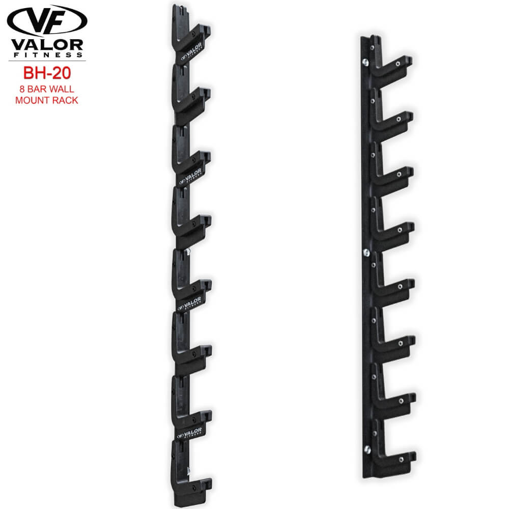 Valor Fitness BH-20 8 Bar Wall Mount Rack 3D View