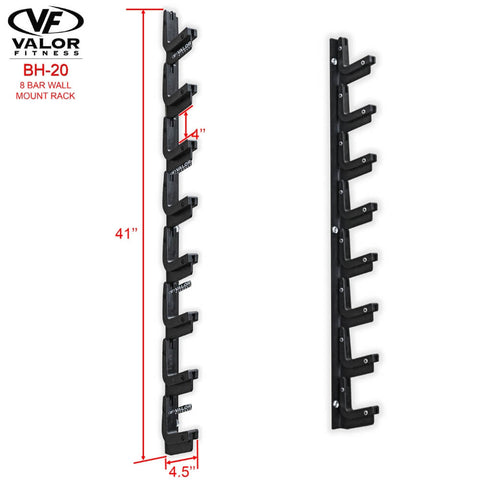 Image of Valor Fitness BH-20 8 Bar Wall Mount Rack Dimensions