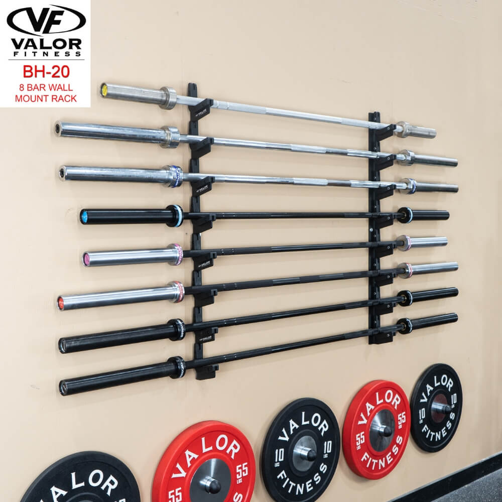 Valor Fitness BH-20 8 Bar Wall Mount Rack With Plates And Bars