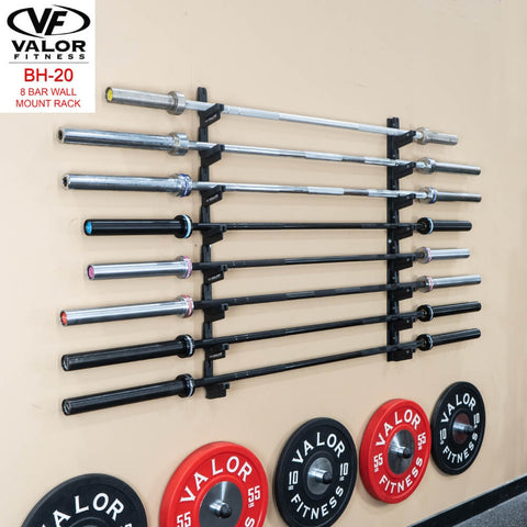 Image of Valor Fitness BH-20 8 Bar Wall Mount Rack With Plates And Bars